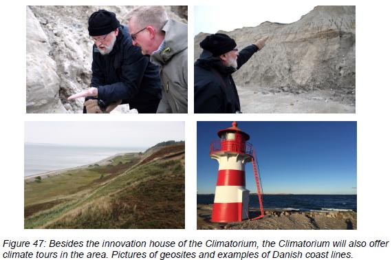 Figure 47: Besides the innovation house of the Climatorium, the Climatorium will also offer  climate tours in the area. Pictures of geosites and examples of Danish coast lines.